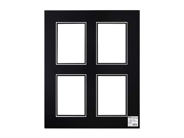 PA Framing Pre-cut Double Photo Mat Board White Core 16 x 20 in. 4 Openings Black/Black
