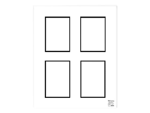 PA Framing Pre-cut Double Photo Mat Board White Core 16 x 20 in. 4 Openings White/Black