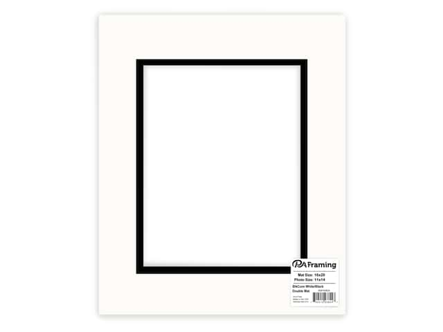 PA Framing Double Photo Mat Board Black Core 16 x 20 in. for 11 x 14 in. Photo White/Black