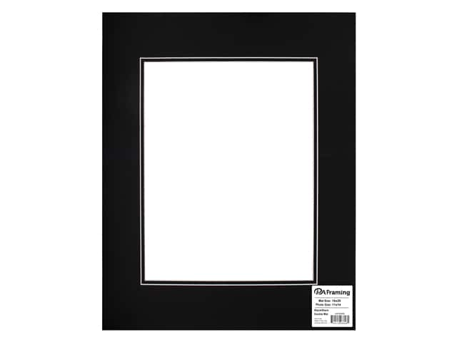 PA Framing Pre-cut Double Photo Mat Board White Core 16 x 20 in. for 11 x 14 in. Photo Black/Black