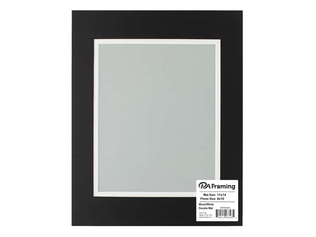 PA Framing Pre-cut Double Photo Mat Board White Core 11 x 14 in. for 8 x 10 in. Photo Black/White