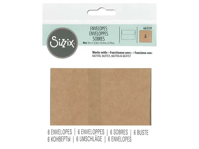 Sizzix Mini Paper Envelopes 6 pc. Kraft