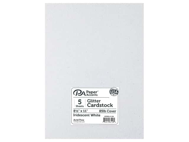 Paper Accents Glitter Cardstock 8 1/2 x 11 in. Iridescent White 5 pc.