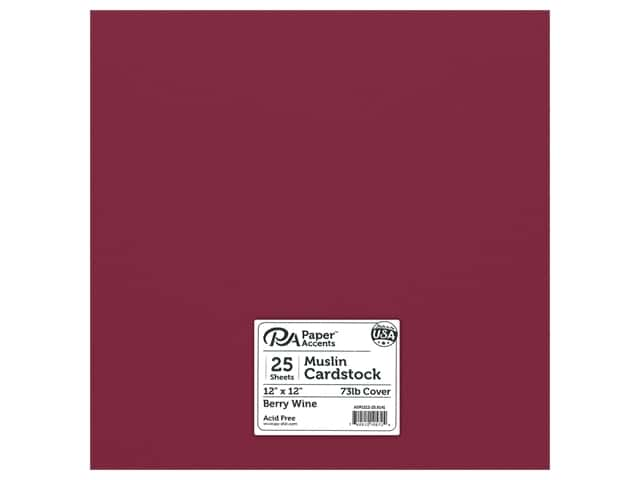Paper Accents Cardstock 12 in. x 12 in. Muslin 73 lb Berry Wine