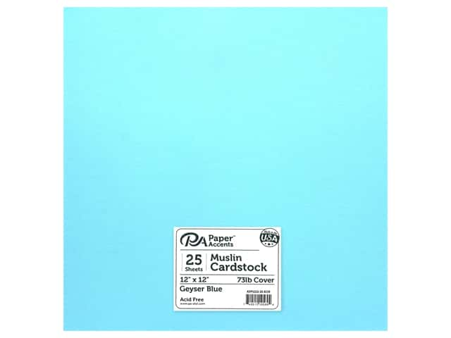 Paper Accents Cardstock 12 in. x 12 in. Muslin 73 lb Geyser Blue
