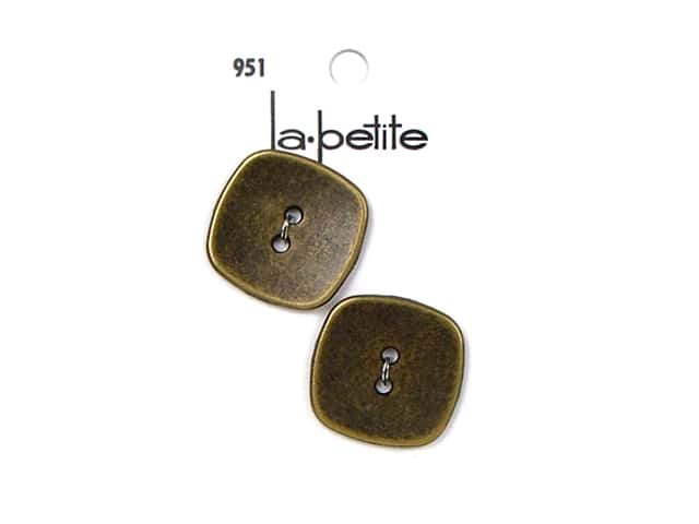 LaPetite 2 Hole Buttons 1 1/8 in. Antique Gold #951 2 pc.