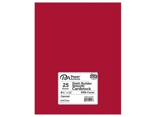Paper Accents Cardstock 8 1/2 x 11 in. #10084 Stash Builder Garnet 25 pc.