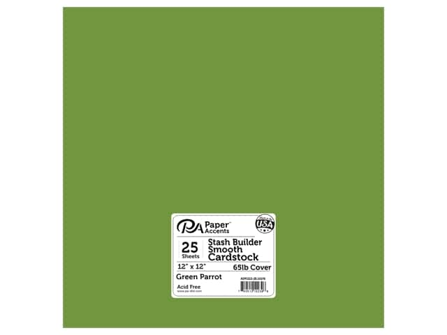 Paper Accents Cardstock 12 x 12 in. #10105 Stash Builder Green Parrot 25 pc.