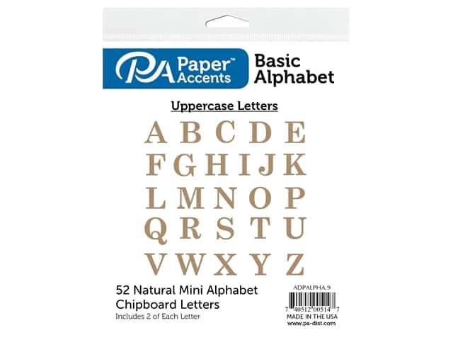 Paper Accents Chip Shape Alphabet 2 in. Basic Upper 52 pc Natural
