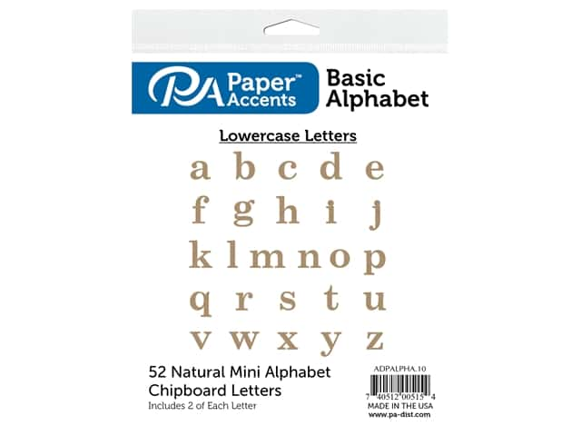 Paper Accents Chip Shape Alphabet 2 in. Basic Lower 52 pc Natural