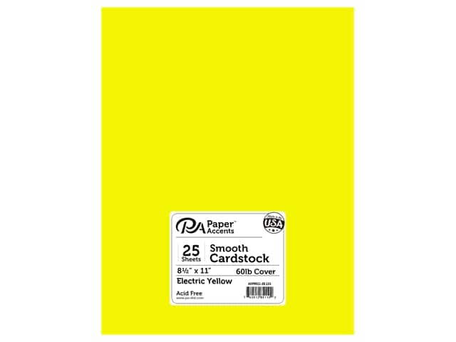 Paper Accents Cardstock 8 1/2 x 11 in. #110 Smooth Electric Yellow (25 sheets)