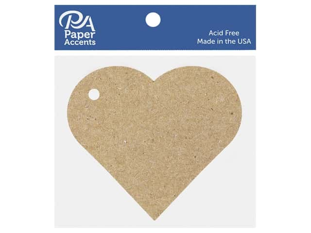 Paper Accents Chipboard Shape Heart Tag 12 pc. Natural