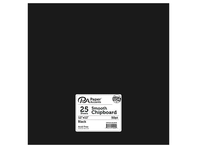 Paper Accents Chipboard 12 x 12 in. 50 pt. Extra Heavy Black 25 pc.