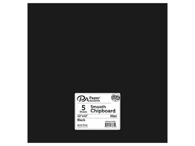 Paper Accents Chipboard 12 in. x 12 in. 1X Heavy 50 pt Black 5 pc