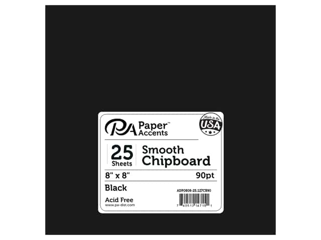 Paper Accents Chipboard 8 x 8 in. 90 pt. 2X Heavy Black