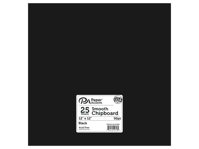 Paper Accents Chipboard 12 x 12 in. 90 pt. 2X Heavy Black