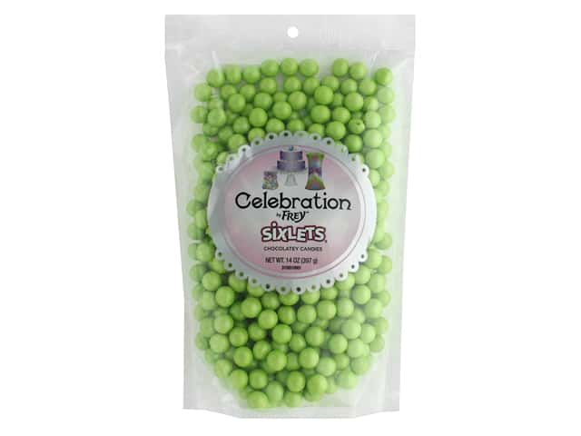 SweetWorks Celebration Sixlets 14 oz. Shimmer Lime Green