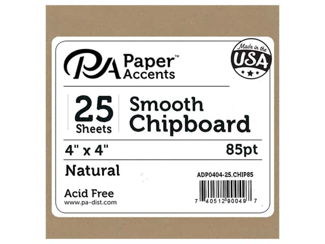 Paper Accents Chipboard 4 x 4 in. 85 pt. 2X Heavy Natural