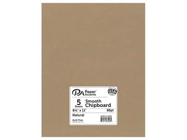 Paper Accents Chipboard 8 1/2 x 11 in. 85 pt. 2X Heavy Natural 5 pc.