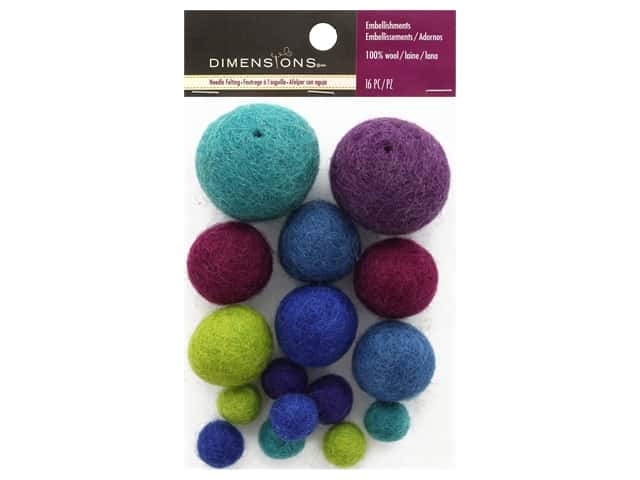 Dimensions 100% Wool Felt Embellishment Ball Cool Assortment