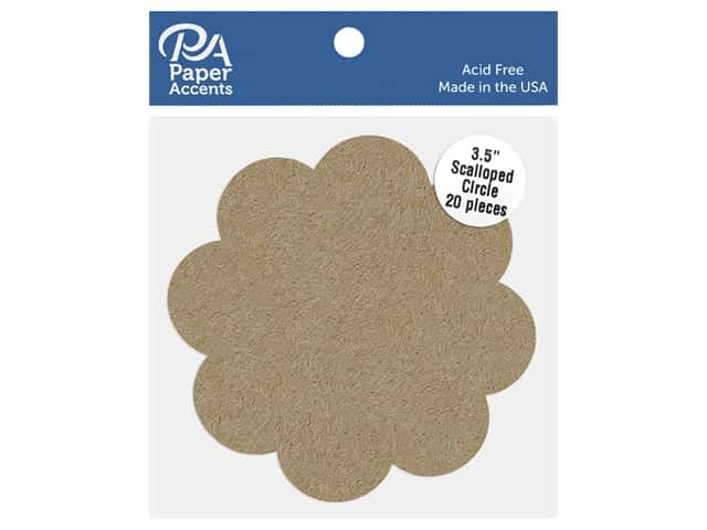 Paper Accents Cardstock Shape Scalloped Circle 3.5 in. 65 lb Kraft 20 pc