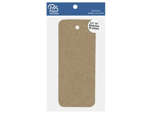 Paper Accents Cardstock Shape Bookmark 2.5 in. x 6 in. 65 lb Kraft 50 pc