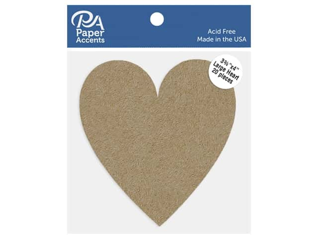 Paper Accents Cardstock Shape Large Heart 3.75 in. x 4 in. 65 lb Kraft 20 pc