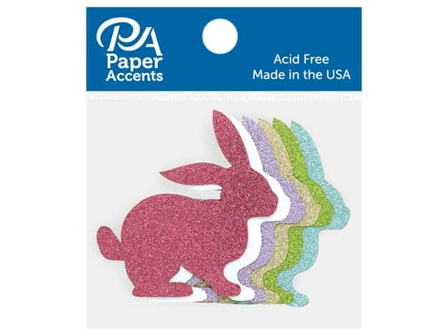 Paper Accents Glitter Shape Bunny Gold, Lavender, Green, White, Blue, Pink 8 pc