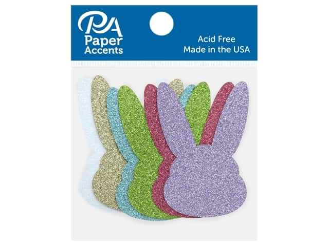Paper Accents Glitter Shape Bunny Head Gold, Lavender, Green, White, Blue, Pink 8 pc