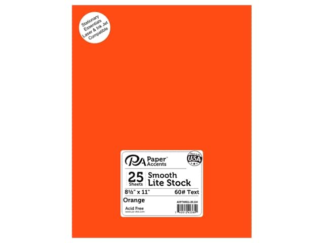 Paper Accents Lite Stock 8 1/2 x 11 in. Smooth Orange 25 pc.