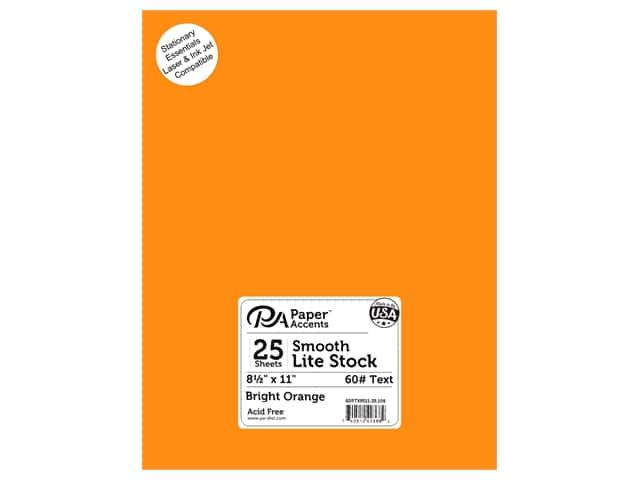 Paper Accents Lite Stock 8 1/2 x 11 in. Smooth Bright Orange 25 pc.