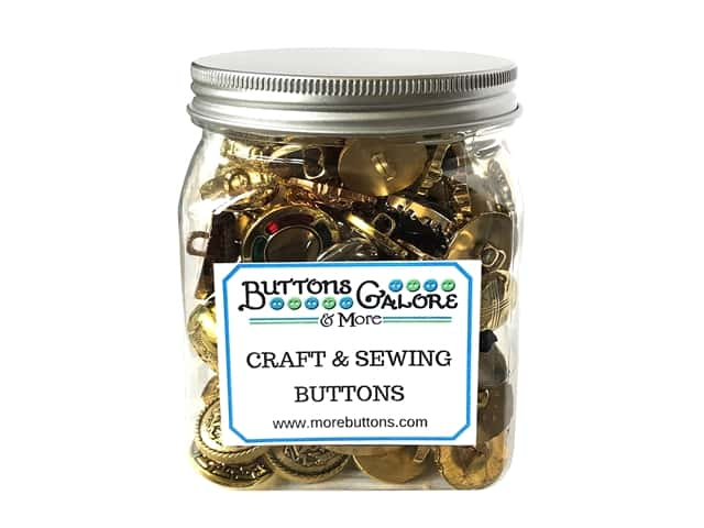 Buttons Galore Button Cookie Jar Fancy Gold