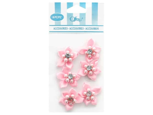Offray Ribbon Accent 5 Petal Flower & Gem Pink 6 pc