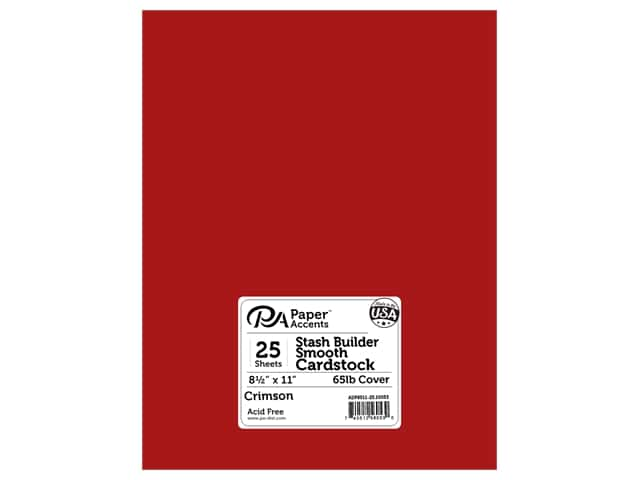 Paper Accents Cardstock 8 1/2 x 11 in. #10053 Stash Builder Crimson 25 pc.