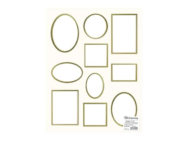 PA Framing Pre-cut Double Photo Mat Board Cream Core 11 x 14 in. 10 Opening Ivory/Gold