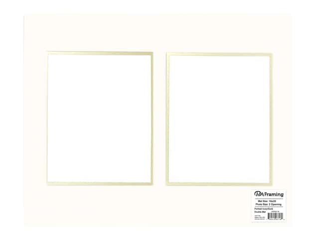 PA Framing Pre-cut Double Photo Mat Board Cream Core 16 x 20 in. 2 Openings Ivory/Gold