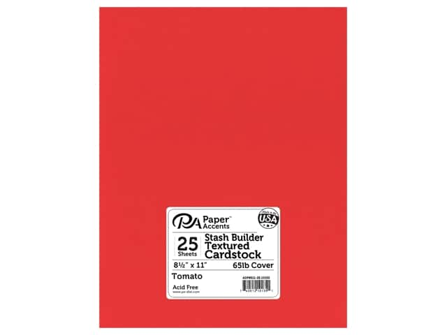 Paper Accents Cardstock 8 1/2 x 11 in. #10152 Stash Builder Textured Tomato 25 pc.