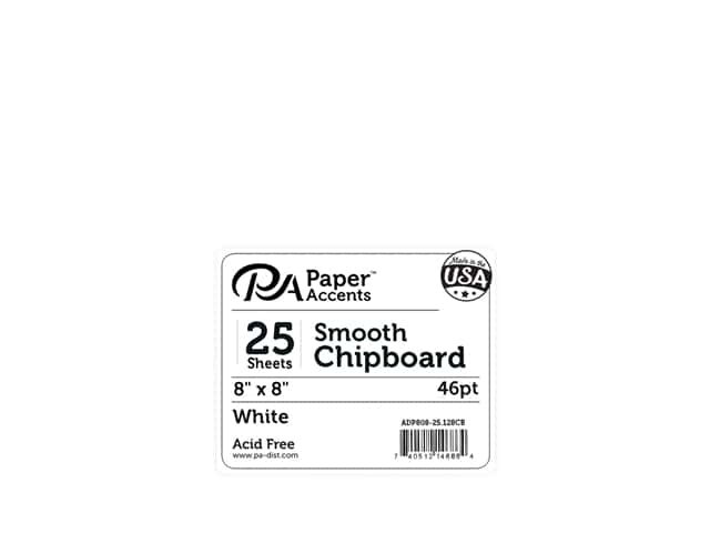 Paper Accents Chipboard 8 x 8 in. 50 pt. Extra Heavy White