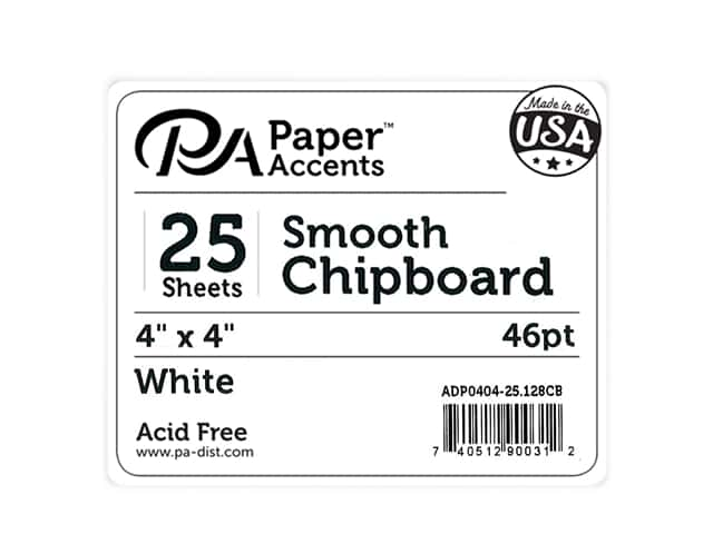 Paper Accents Chipboard 4 x 4 in. 46 pt. Extra Heavy White 25 pc.