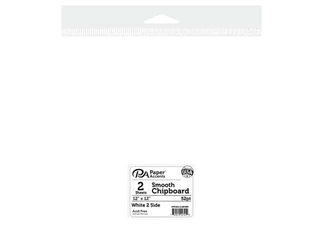 Paper Accents Chipboard 12 in. x 12 in. XL Heavy 50 pt White 2 Side 2 pc
