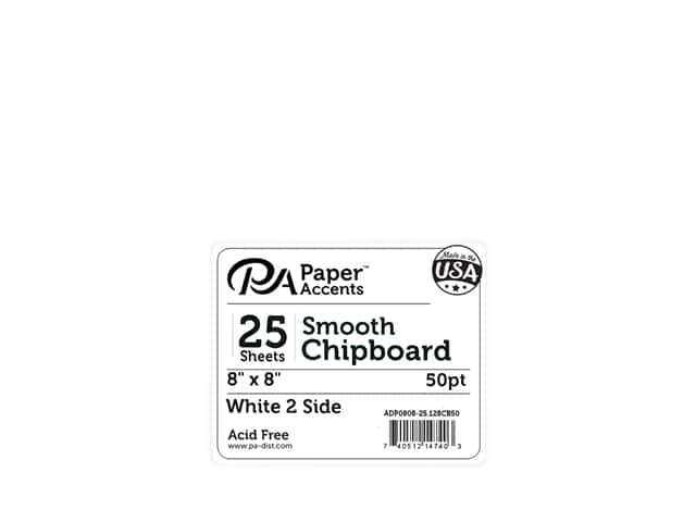 Paper Accents Chipboard 8 in. x 8 in. XL Heavy 50 pt White 2 Side