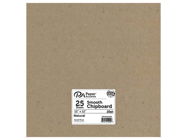Paper Accents Chipboard 12 x 12 in. 20 pt. Light Weight Natural 25 pc.