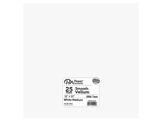 Paper Accents Vellum 12 x 12 in. 29 lb. Medium Weight White 25 pc.