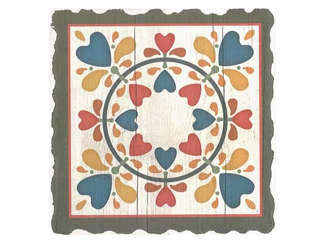 Graphic Impressions Barn Quilts Coaster Folk Hearts And Flowers