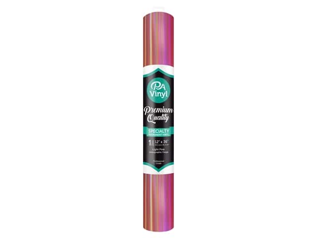 PA Adhesive Vinyl 12 x 36 in. Permanent Holographic Light Pink