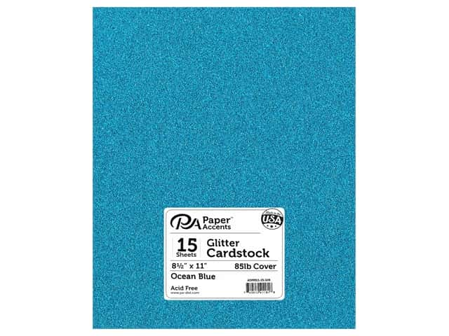 Paper Accents Glitter Cardstock 8 1/2 x 11 in. #G08 Ocean Blue 15 pc.