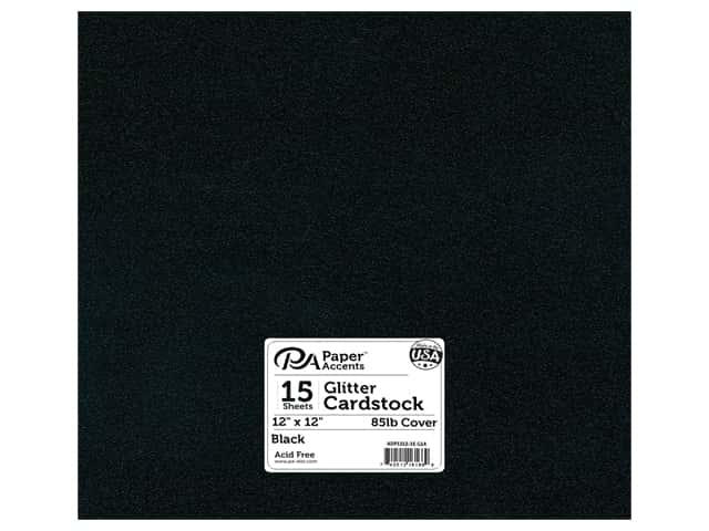 Paper Accents Glitter Cardstock 12 x 12 in. #G14 Black 15 pc.