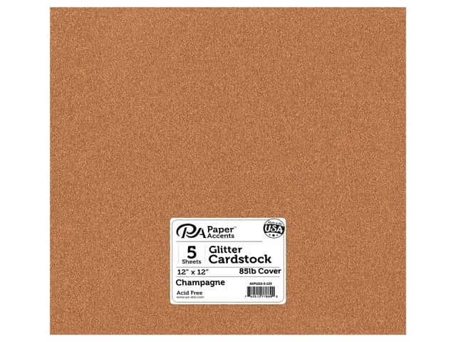 Paper Accents Glitter Cardstock 12 x 12 in. #G33 Champagne 5 pc.