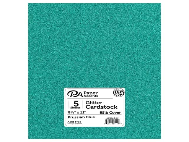 Paper Accents Glitter Cardstock 8 1/2 x 11 in. Prussian Blue 5 pc.