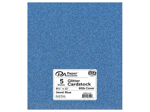 Paper Accents Glitter Cardstock 8 1/2 x 11 in. Jewel Blue 5 pc.